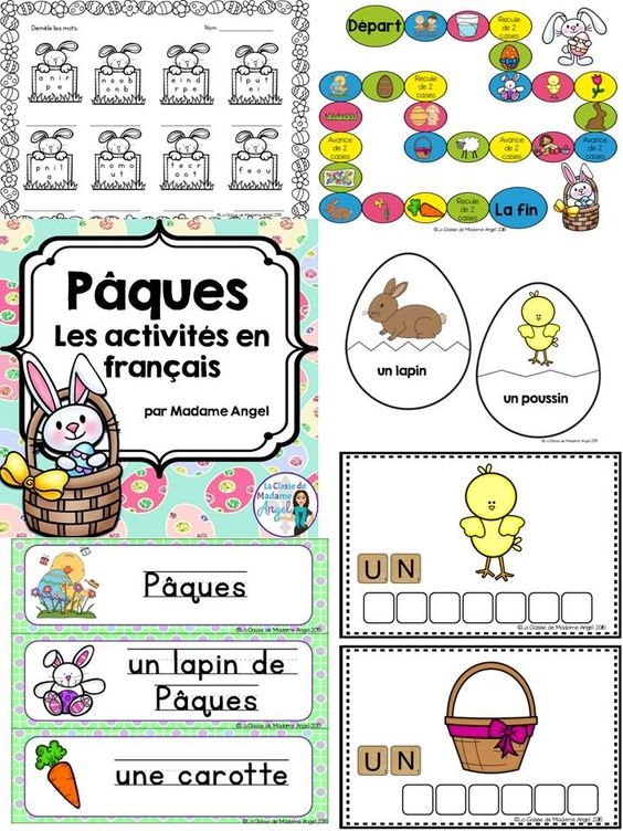 p ques paques easter themed literacy activities in french pinterest activities words and. Black Bedroom Furniture Sets. Home Design Ideas