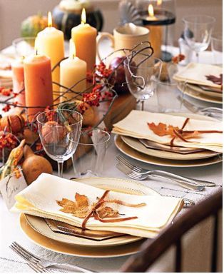 by far this has to be my favorite autumn table scape.   I love that the candles take center stage.  The only thing I would do differently is use a midnight blue table cloth.