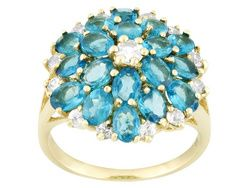 Neon Apatite 2.60ctw Oval With White Zircon .85ctw Round 10k Yellow Gold Ring