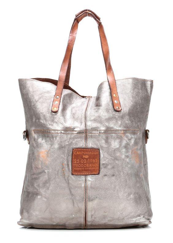 Campomaggi Lavata Shopper Leder silber 45 cm - C1340BISLAVL-7018 - Designer Taschen Shop - wardow.com                                                                                                                                                      Mehr