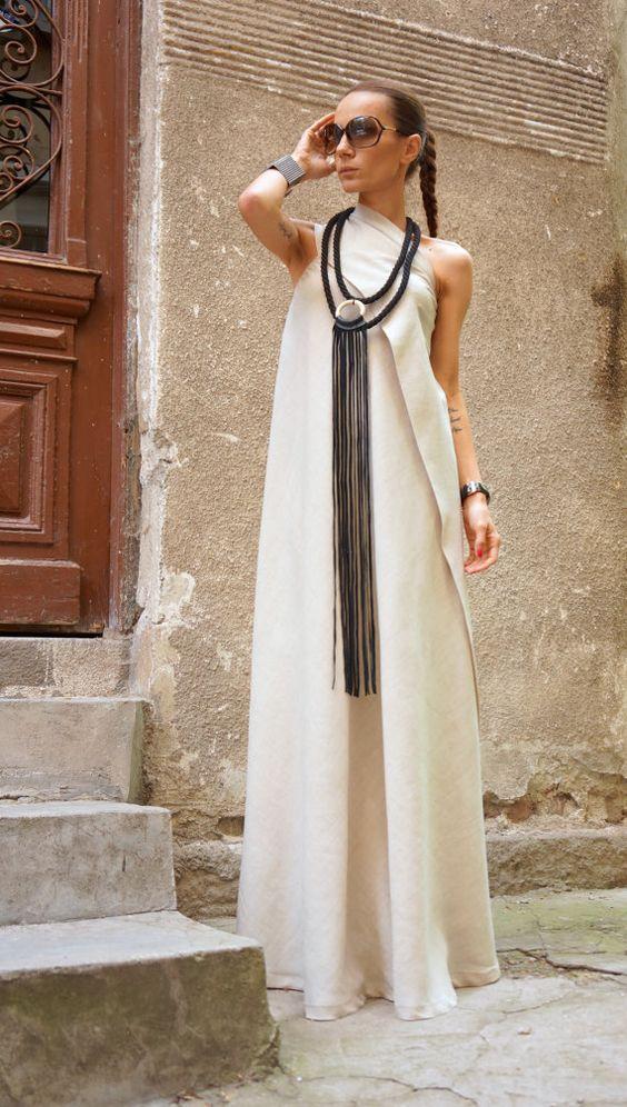 XXL XXXL Maxi abito naturale lino Kaftan vestito / una spalla
