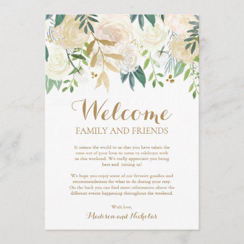 Gold White Flower Wedding Hotel Welcome Cards Zazzle Com In 2020 White Wedding Flowers Wedding Invitation Kits Hotel Wedding