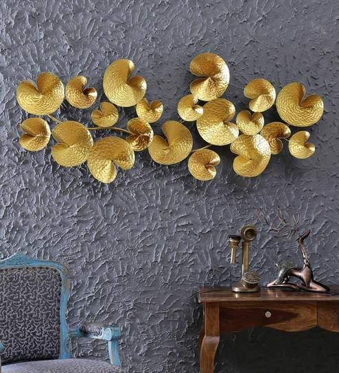 Buy Wrought Iron Decorative Wall Hanging In Golden Wall Art By Malik Design Online Floral Metal Art Metal Wall Art Home Decor Pepperfry Product Floral Metal Wall