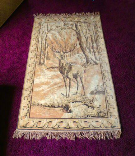 Vtg Tapestry Forest Scene Elk Stag Buck Doe Lodge Decor Rustic Cabin Castle Tapestries Ebay Link In 2020 Woodland Tapestry Tapestry Lodge Decor