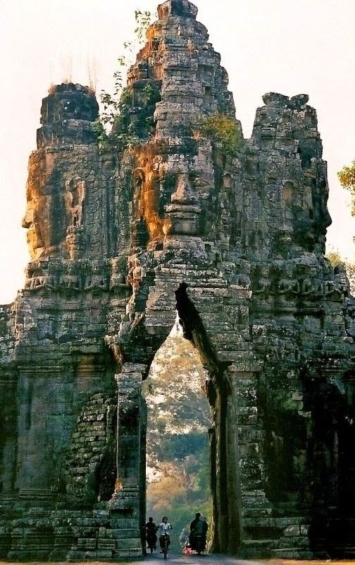 The gate of Angkor Thom, Cambodia #Travel #Places #Photography: