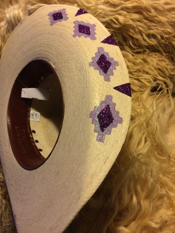 Palm leaf custom painted cowwboy hat size 6 3/4