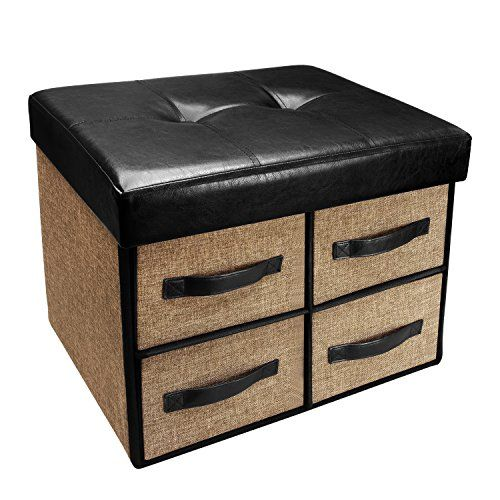 Ikee Design Folding Storage Bench Faux Leather Linen Collapsible Foot Rest Stool Seat With 4 Drawers Tufted Storage Ottoman Storage Ottoman Storage Bench