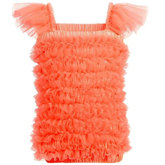 ANGEL'S FACE Neon Orange Tulle Net Frilled Top