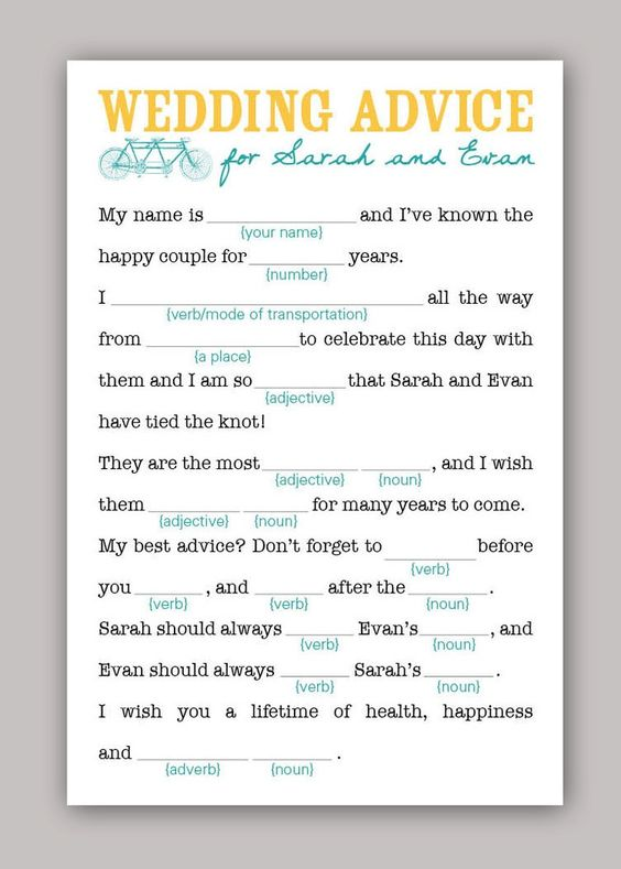 Personalized wedding mad-libs.