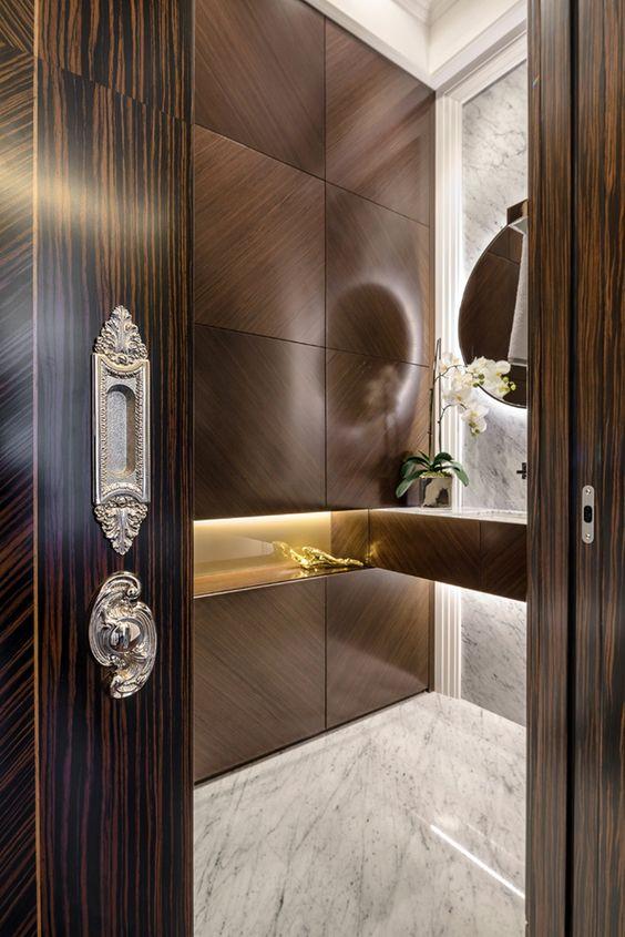 Powder Pocket doors and Design on Pinterest