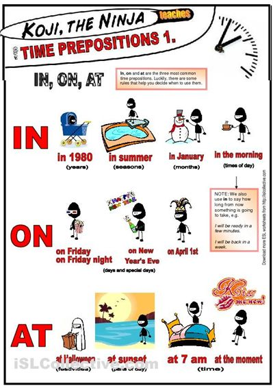 Koji The Ninja teaches time prepositions: IN, ON, AT