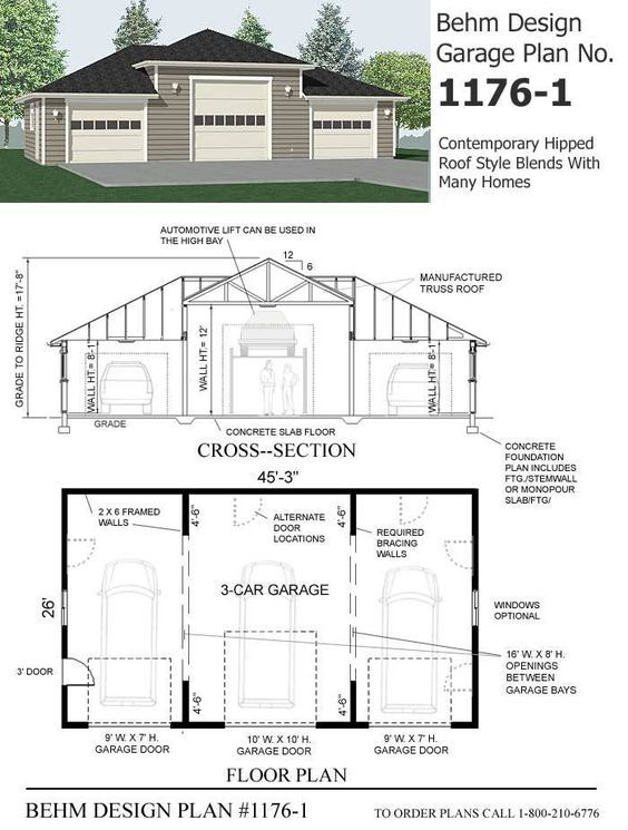Hipped Roof Style 3 Car Garage Plan 1176 1 45 3 X 26 3 Car Garage Plans Garage Plans Three Car Garage