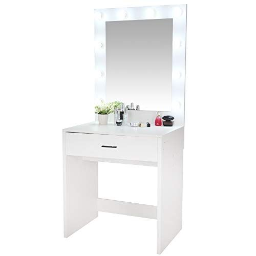 Vanity Set With Lighted Mirror Dressing Table Makeup Vanity Writing Desk With Large Drawer For Bedroom 10 Cool Vanity Set Mirror With Lights Vanity Table Set