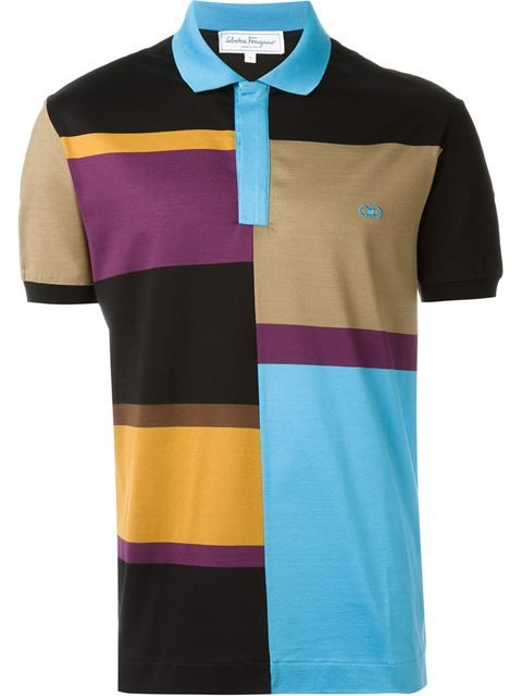 SALVATORE FERRAGAMO Colour Block Polo Shirt. #salvatoreferragamo #cloth #shirt