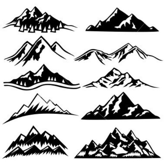Mountain range silhouette watercolour google search Mountain silhouette