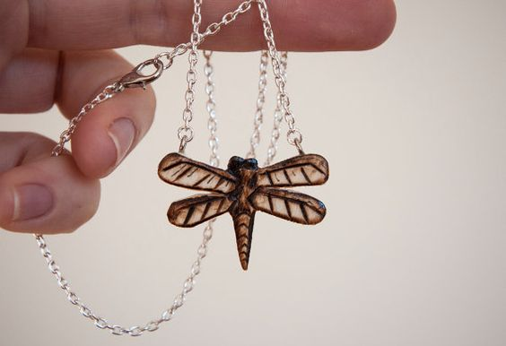 Chocker necklace with wooden dragonfly handmade by SilviaWithLove, €13.00
