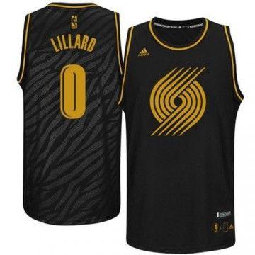 Adidas NBA Portland Trail Blazers #0 Damian Lillard Static Fashion Swingman Black  Gold Jerseys