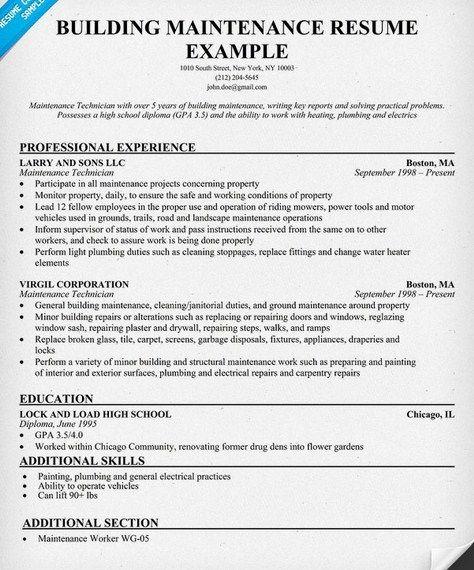 maintenance resume sample job resume samples pinterest building