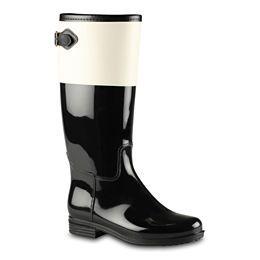 White and black rain boots