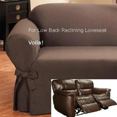 Reclining Loveseat Slipcover Low Back Ribbed Texture Chocolate Adapted For Dual Recliner Love