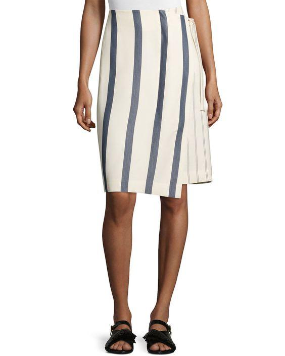 Striped Twill Wrap Skirt, Bone/Marine (Ivory/Marine), Women's, Size: 10 - GREY Jason Wu