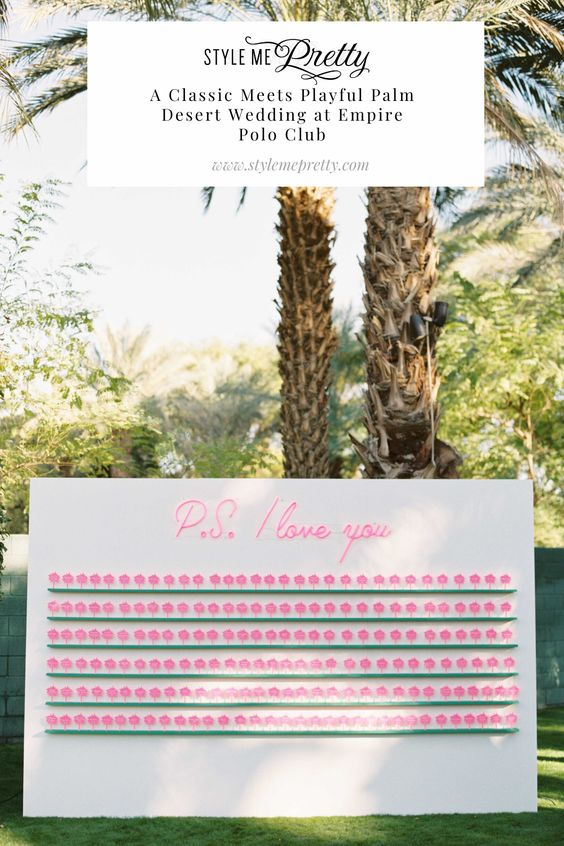 Today's Palm Springs wedding is truly the definition of pretty! This bride and groom went with a classic, formal style but incorporated glam, playful touches (like a hot pink P.S. I love you escort display 💓) that you just HAVE to see! All details on SMP.com!  Photography: @katieshuler  #palmdesertwedding #classicwedding #colorfulwedding #uniqueescortdisplay