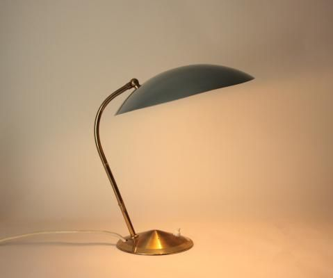 Mid Century Brass Desk Lamp With Dove Blue Shade 2 Desk Lamp Lamp Brass Desk Lamp