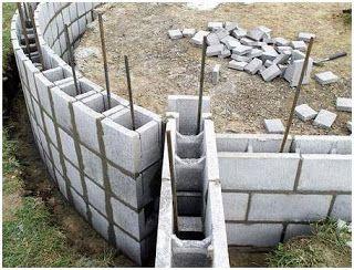 Exemplo de amarração de blocos de concreto em uma parede curva