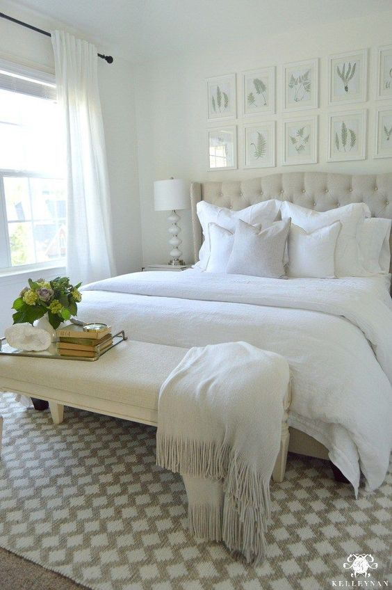 Kelley Nan: Guest Bedroom Reveal: The White Room- White Guest Bedroom Transformation with Pottery Barn Linen Bedding and Fern Botanical Gallery Wall above bed:
