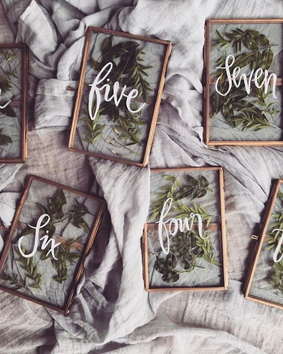 vintage frame wedding table numbers with pressed greenery