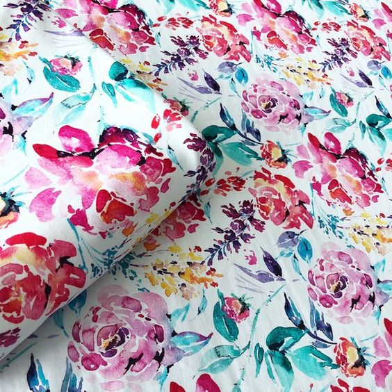 1 YARD Cotton Lycra BRIGHT Watercolor Floral Custom Knit Fabric