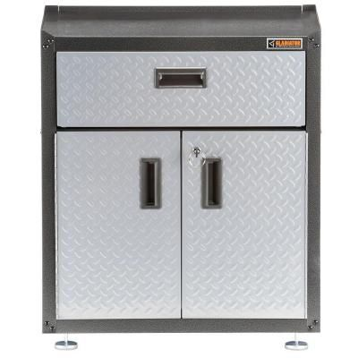 Gladiator Ready to Assemble 31 in. H x 28 in. W x 18 in. D Steel 2-Door Freestanding Garage Cabinet with Drawer in Silver Tread-GAGB28KDYG - The Home Depot
