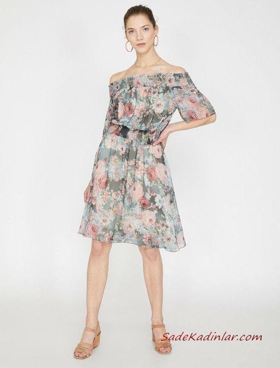 2019 Yazlik Elbise Modelleri Koton Yesil Kisa Omzu Acik Buzgulu Yaka Desenli Elbise Modelleri Elbise Gomlek Elbise