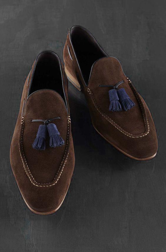 Details about Handmade Moccasin Brown Loafer Shoes, Men
