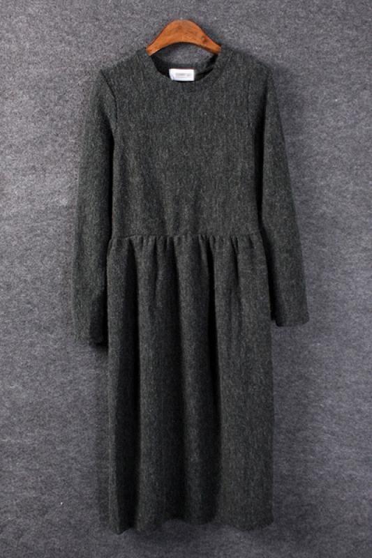 Plain Elastic Round Neck Knit Long Sleeve Dress