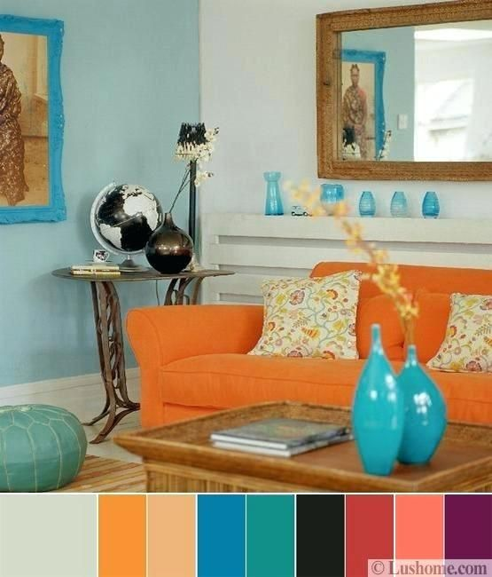 Bright Living Room Color Scheme With Turquoise Blue And Orange Schemes For Rooms Living Room Orange Teal Living Rooms Interior Design Color Schemes #turquoise #color #scheme #living #room