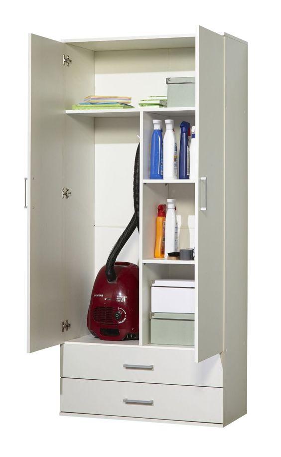 WILMES 40102-75 0 75 Schrank Ronny mit Staubsaugerfach Dekor Melamin, 80 x 178 x 39 cm, weiß: Amazon.de: Küche & Haushalt