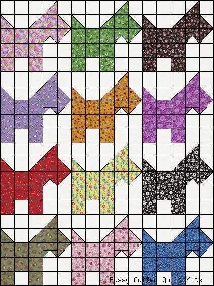 Calico Scotty Dog Scotties Puppy Grab Bag Fabric Easy Pre-Cut ... : scottie quilt pattern - Adamdwight.com