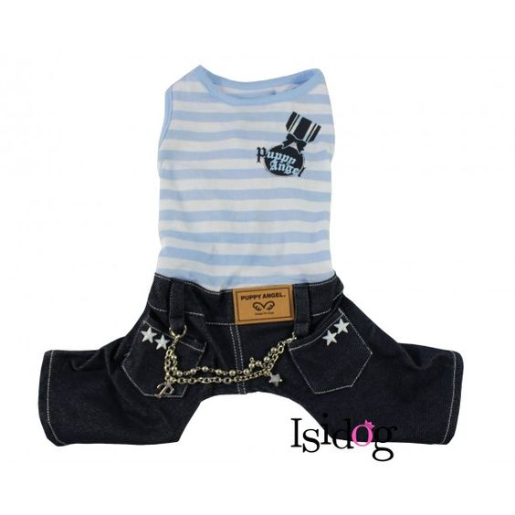 Combinaison chien Puppy Angel rayé bleue et jean - Isidog.fr