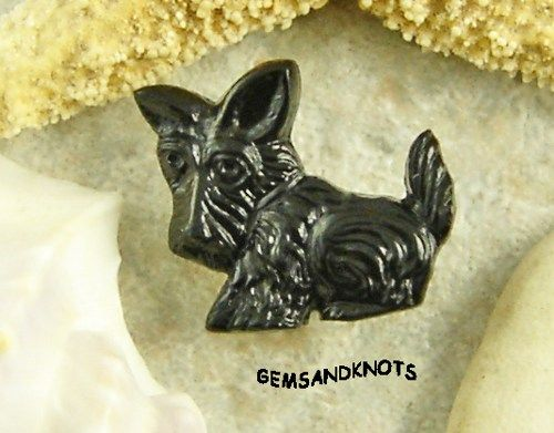 (4) Black Scottish Terrier Dog Vintage Plastic Button 16mm GK1671 | GemsandKnots - Craft Supplies on ArtFire #afpounce