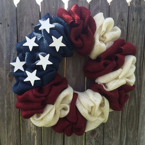 NEW ALL American Flag Burlap Bubble Wreath by FromTheCoast2TheCity