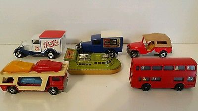 Matchbox lot 6 Vintage Hovercraft Jeep CJ6 Model A Ford Pepsi Champion Corgi