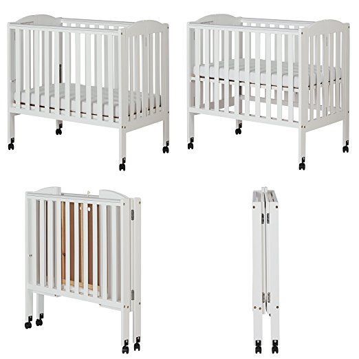 Amazon Com Dream On Me 2 In 1 Portable Folding Stationary Side Crib White Mini Crib Baby Cribs Portable Crib Modern Crib