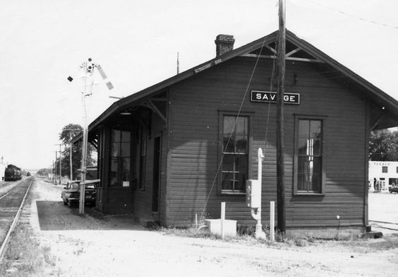 Former Chicago St. Paul Minneapolis & Omaha depot in Savage, Minnesota.  It was moved to Murphy's Landing heritage park and was there for several years.  It was recently moved back to Savage and now serves as a coffee house and also houses some Dan Patch memorabilia.