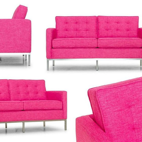 Some may say the color of #love is red, but the Franklin #loveseat would like to argue that it's actually #pink. Key Largo Bubblegum, in fact! #fabrics #custom #midcentury #furniture #hotpink #delicious #metal #comfy #joybird