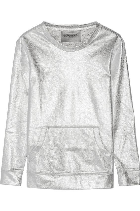 Norma Kamali Metallic cotton-blend sweatshirt NET-A-PORTER.COM