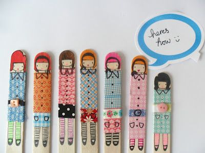 popsicle stick dollies - using washi tape and pens - great for older girls