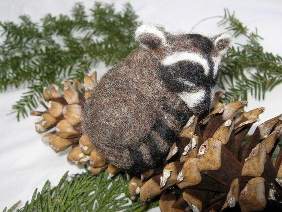 Sleeping Baby Raccoon OOAK by softforest, via Flickr