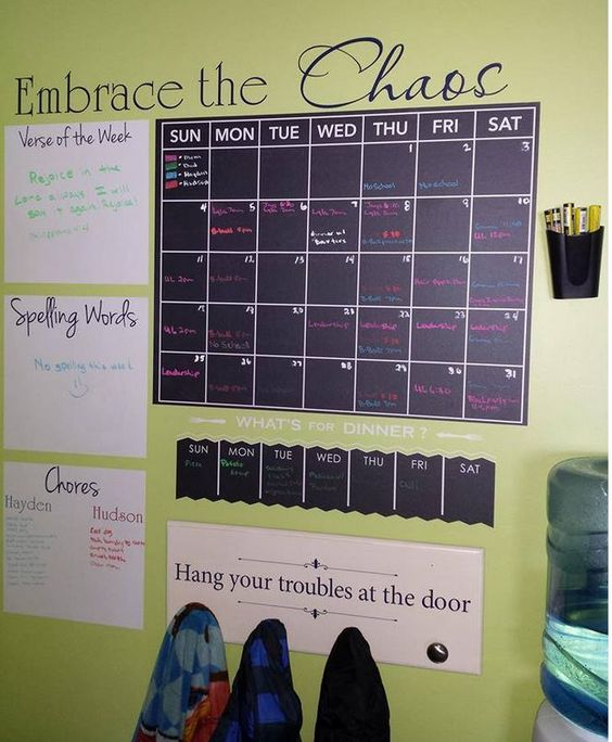 Simplify life with a family command centre that keeps everyone on track with their schedules and provides a handy place to hang coats and bags