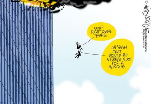 In this classic, quintessential cartoon by Mike Lester, two victims of the Twin Towers collapse express a hope in their final moments that New Yorkers will find acceptance rather than prejudice as they rebuild the city. Since the two are depicted in silhouette, with no identifying marks, the viewer cannot discern their race or creed — white, black, Christian, Muslim? The answer, of course, is that it doesn't matter, that it shouldn't matter. A good cartoon.